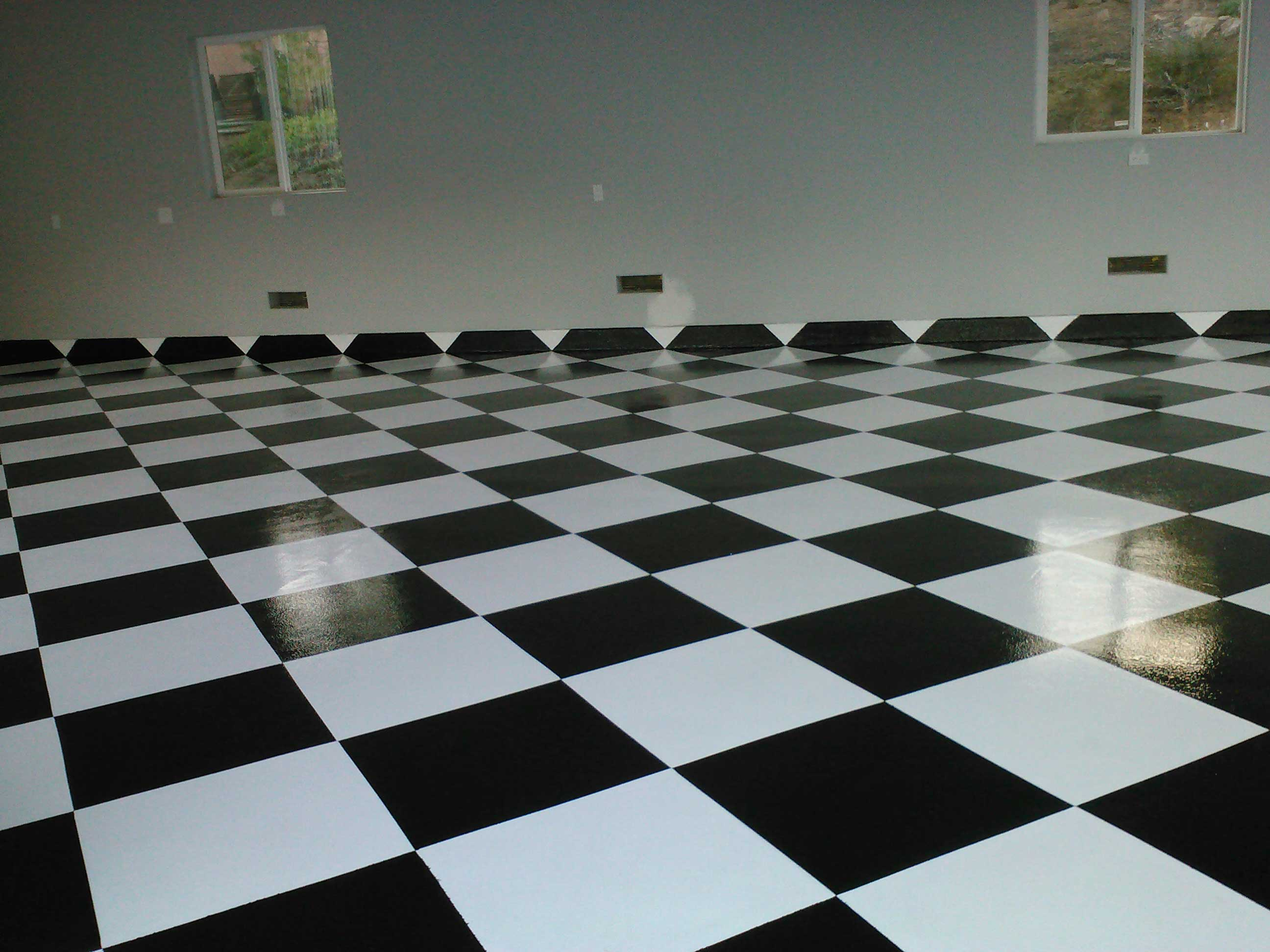 Epoxy garage floors san diego garage excell black and white checkered garage floor dailygadgetfo Choice Image