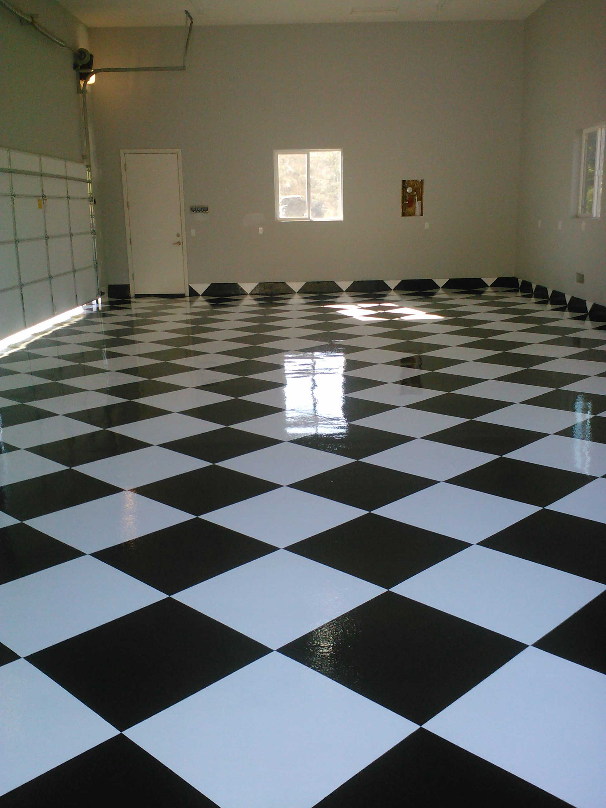 Epoxy garage floors san diego garage excell black and white checkered tile garage floor dailygadgetfo Choice Image