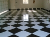 Black and White Checkered Tile Garage Floor