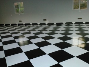 1,000 square foot floor done with checkered pattern. There are only four business able to do these floors in Southern CA .