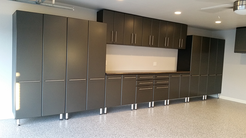 ... Grey Garage Cabinets and Epoxy Floors ... & garage cabinets