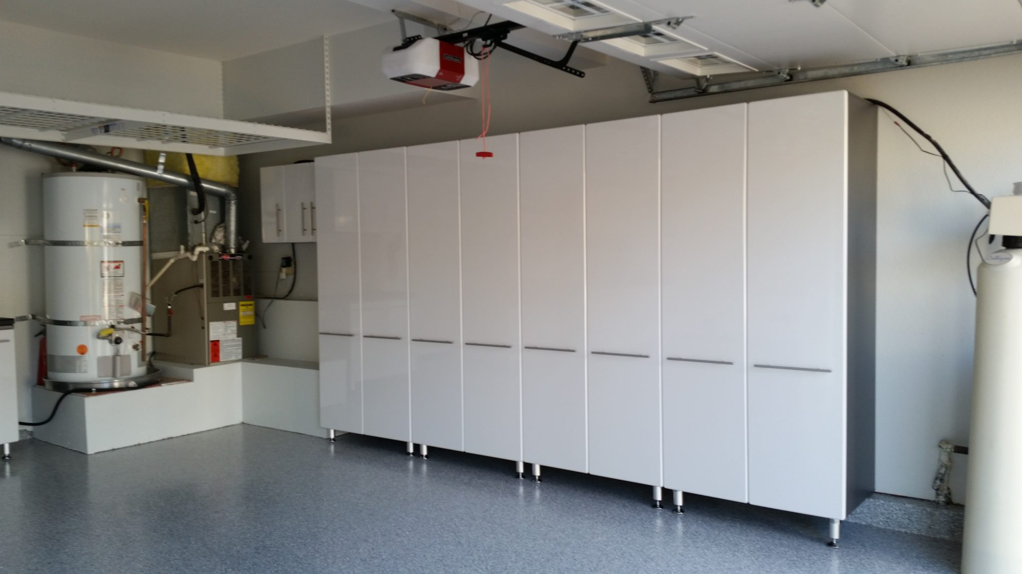 garage cabinets in white and grey