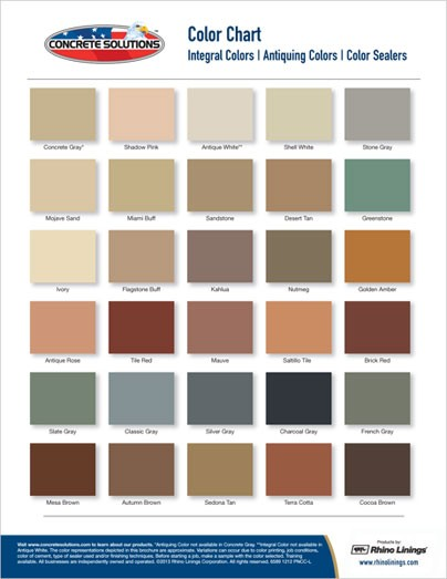 Concrete Solutions Color Chart - Garage Excell