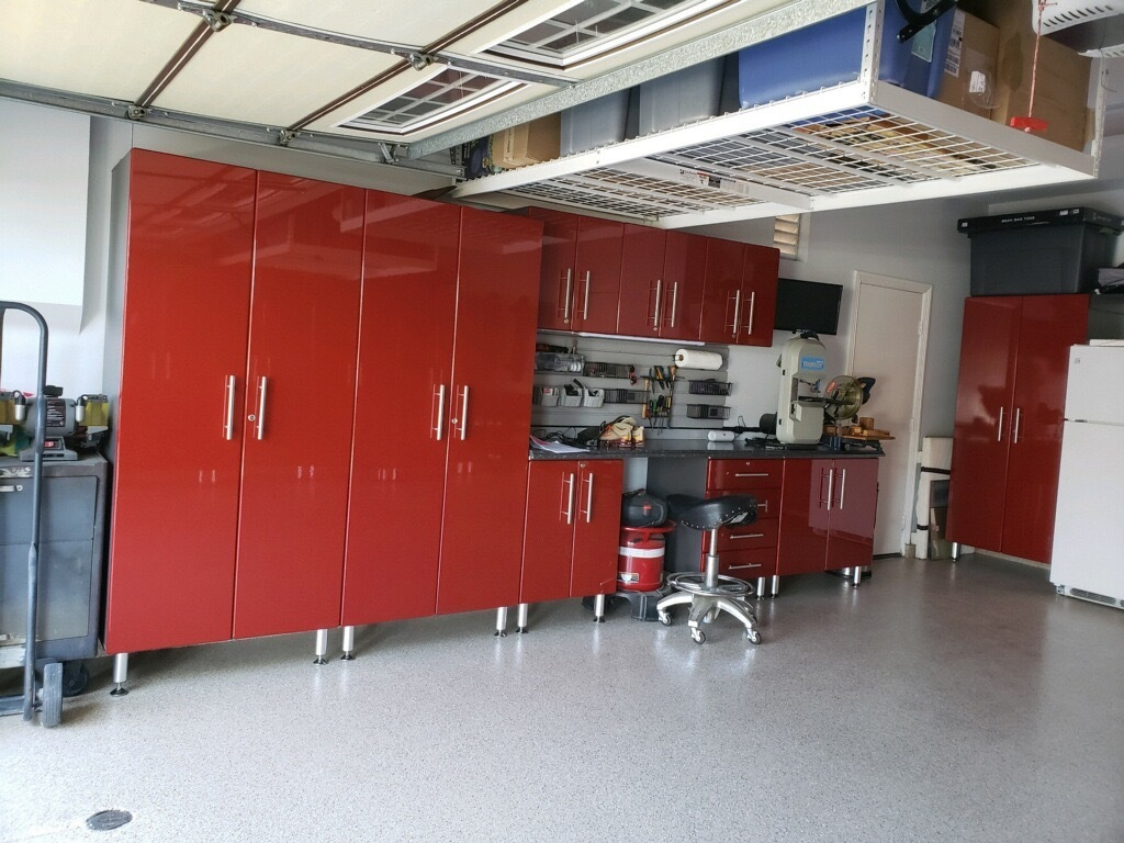 Red Modular Garage Cabinets with workbench and Epoxy Floor